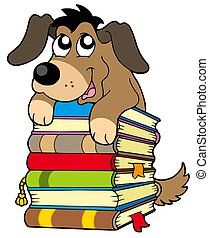 Cute dog on pile of books - isolated illustration.