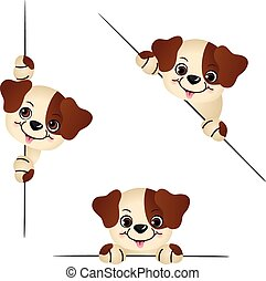 Cute dog peeking from behind - Scalable vectorial image...