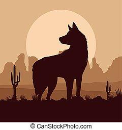 cute dog pet animal in the desert scene