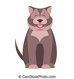 Cute Dog Seating Cartoon Flat Vector Icon