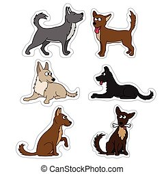 Cute dog set stickers. Different breeds of dogs Vector set of icons and illustrations