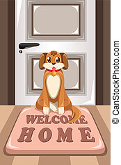 Cute dog sitting on a mat - A vector illustration of cute ...