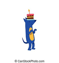Cute dog standing with a cake on his head, funny cartoon animal character at birthday party vector Illustration