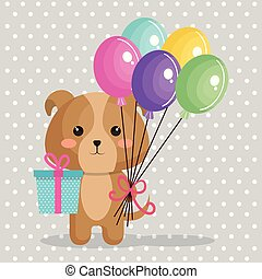 cute dog with balloons air kawaii birthday card
