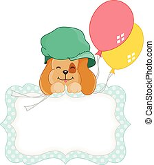 Cute dog with balloons blank tag