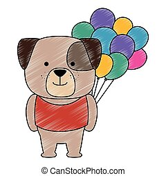 cute dog with balloons helium character