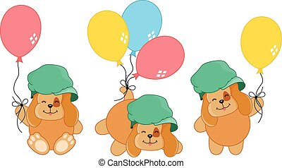 Cute dog with balloons
