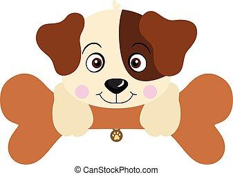 Cute dog with big bone