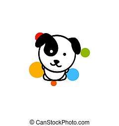 Cute Dog with colorful balls vector illustration, Baby Puppy logo, new design art, Pet Black color sign, simple image, picture with animal