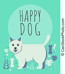 Cute dog with flowers and plants greeting card