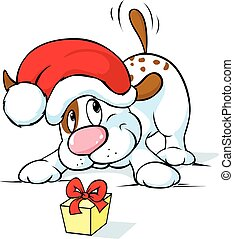 Cute dog with santa hat and gift - vector illustration