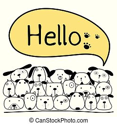 Cute Dog With Say Hello. Vector Illustration Background.