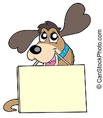 Cute dog with sign - isolated illustration.