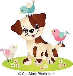 Cute dog with three birds