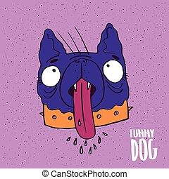 Cute dog with tongue in handmade cartoon style