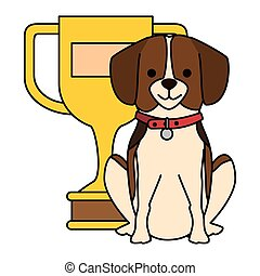 cute dog with trophy character