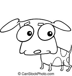 cartoon illustration of cute little doggy for coloring book