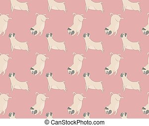 Vector seamless pugs pattern