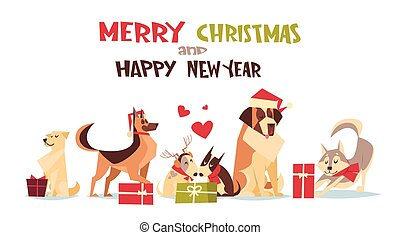 Cute Dogs In Santa Hats Isolated On White With Gift Boxes Merry Christmas And Happy New Year Poster Design