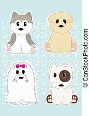 Cute dogs set 2 - Cute set of four dogs