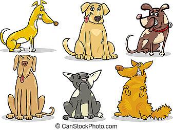 cute dogs set cartoon illustration - Cartoon Illustration of...