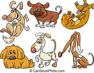 cute dogs set cartoon illustration - Cartoon Illustration of...
