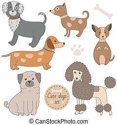Cute dogs set