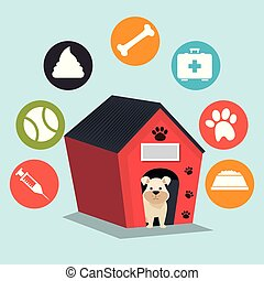 cute dogs with wooden house