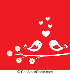 cute, dois pássaros
