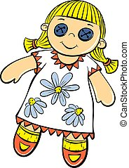 Cute doll toy icon, cartoon style