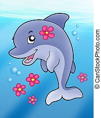 Cute dolphin girl in sea - color illustration.