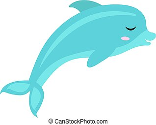 Cute dolphin icon, flat, cartoon style. Isolated on white background. Vector illustration.