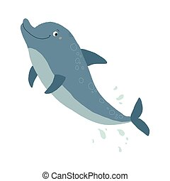 Cute dolphin jumping. Cartoon vector hand drawn eps 10 illustration isolated on white background in a flat style.