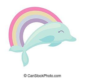 cute dolphin with rainbow