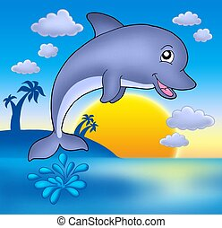 Cute dolphin with sunset - Smiling dolphin with sunset -...