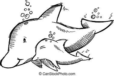 Cute Dolphins Sketch Vector