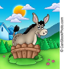 Cute donkey behind fence - color illustration.