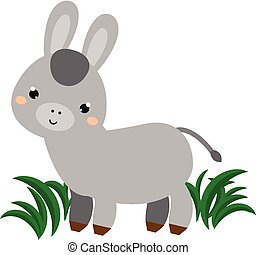 Cute donkey. Cartoon animal character. Vector illustration for kids and babies fashion