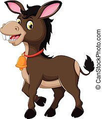 cute donkey cartoon walking