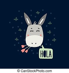 Cute donkey head vector illustration