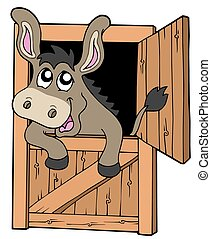 Cute donkey in stable - isolated illustration.