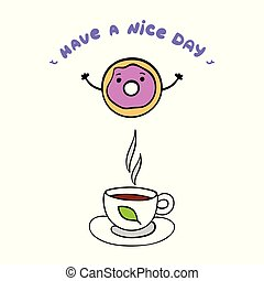Cute donut and cup of tea on white background.