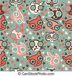 cute doodle cats seamless pattern