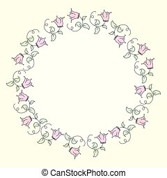 Cute Doodle circle floral frame