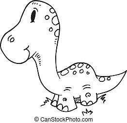 Cute Doodle Dinosaur Vector