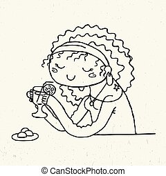 Cute doodle girl with cup of tea and chocolate candies.