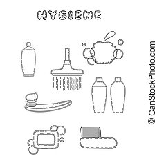 Cute doodle hygiene related items, vector