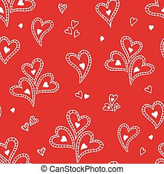Cute doodle seamless pattern for st. Valentine s day with...