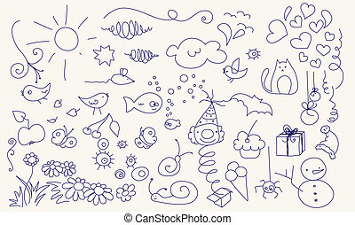 Cute doodle set - Collection of various doodle elements for...
