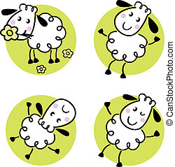 Cute doodle sheep set isolated on white
